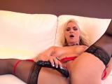 Blonde hottie Sarah Vandella uses a big toy in her tight