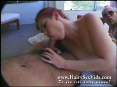 redhead hairy slut in for 3some