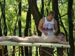 Hung Masseur Barebacking Twink Clients Ass Outdoors