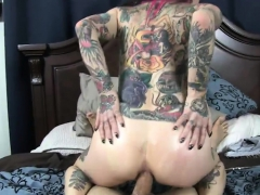 Tattooed woman gets her anal toyed and banged on webcam