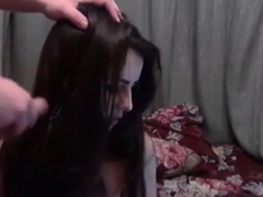 18 yo woman amateur sperm shot in hair