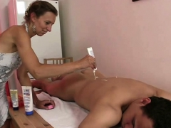 Granny Masseuse Sucking And Riding Young Cock