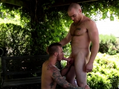Hairy Jock Covers Muscular Stud With Jizz