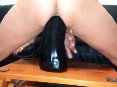 Colossal dildo fucking insatiable amateur MILF