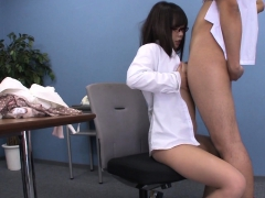asian office brunette sucking the guy to jizz on her breasts
