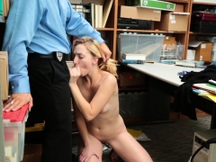 Scared Blonde Teen Paid With Her Young Pussy For Stealing