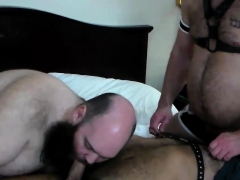 Leather Bear Oral Gay Threesome