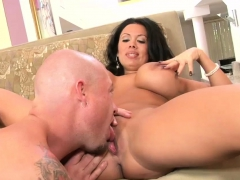 Busty Babe Makes A Bald Guy Cum