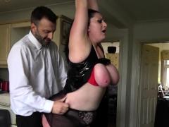 Fat submissive in latex