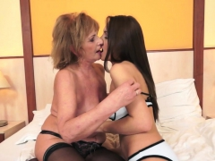 Busty Les Granny In Stockings Fingering Teen