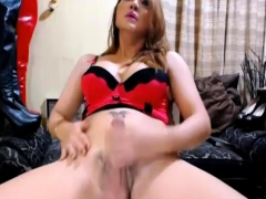 Sizzling Lovely Tranny Babe Masturbate Her Cock Hard