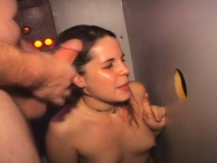 Brunette Amateur Sucking Multiple Dicks At A Glory Hole