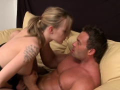 Busty Femdom Pegging Slaves Ass After Tugging
