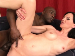 Two cute brunette MILFs share two big black cocks