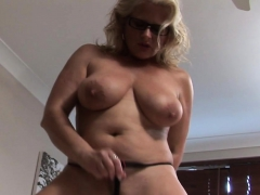busty blonde tries out a dildo PornBookPro