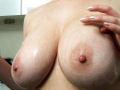 lily pink gets naked and oils monster boobs