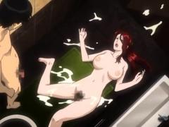Brunette cums to hentai