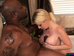 Tittyfucking Masseuse Sucks On Black Cock