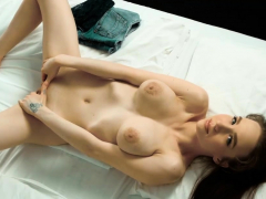 naked chesty virgin stretching cunt in close-up