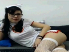 cosplayer nurse slut showing muffin in webcam