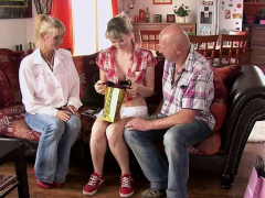 he finds his cheating slut gf fucking with old parents