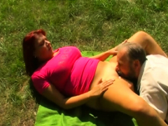 young chick sucks and bonks an older man passionately