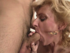 picked up old blonde girl enjoys fucking his young cock
