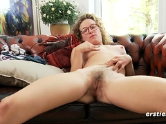 Hairy Babe In Glasses Has Orgasm