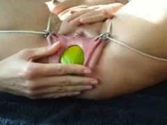 Blonde amateur chick in solo bdsm