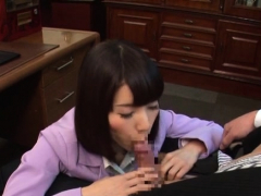 Older japanese bitch gets down on some dick for nice award
