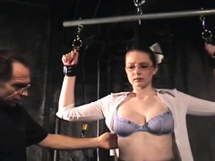 Infirm young beauty gets totaly tied up and belted