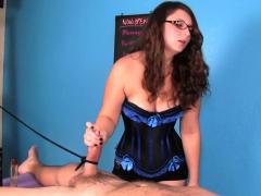 sexy masseuse stroking penis during cfnm