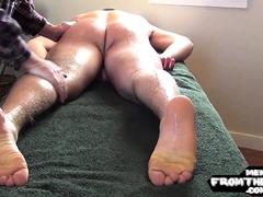 Oiled american jock gets his cock jerked