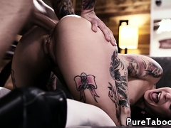 Tattooed goth beauty getting anally pounded