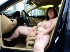 german big boobs mature masturbate on car