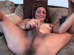 Curvy solo trans chick whips her cock out
