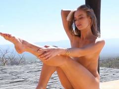 canadian model blonde maija riika outdoor striptease