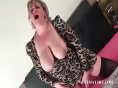Trashy Mature Dildoing Pink Cunt