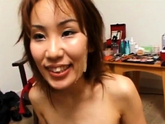 Yuki Yoshida with hairy twat gets cum on face from sucking