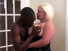 Grandma With Big Boobs Sucks Black Cock