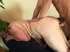 stranger-fucks-her-shaved-old-pussy-from-behind