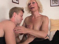 sexy blonde mature bitch loves riding his monster cock