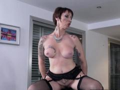 Tattooed gilf rides big black cock after bj