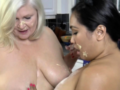Granny toyed with banana by chubby asian