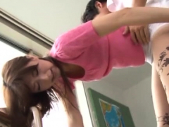 Fantastic japanese works on a large rod slamming her bush
