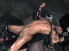 Restrained sub flogged and drilled by sextoy