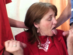 Busty Hairy-pussy Office Granny Double Penetration