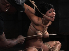 Ebony sub spanked and toyed by her master
