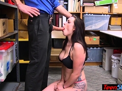 Chubby Inked Teen Thief Punished By A Dirty Policeman