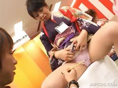Asian Seductress Gets Leggs Teased In Group